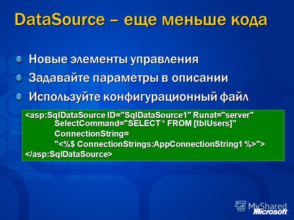 DataSource – еще меньше кода Новые элементы управления Задавайте параметры в описании Используйте конфигурационный файл
