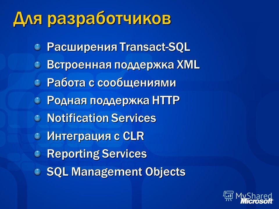 Для разработчиков Расширения Transact-SQL Встроенная поддержка XML Работа с сообщениями Родная поддержка HTTP Notification Services Интеграция с CLR Reporting Services SQL Management Objects