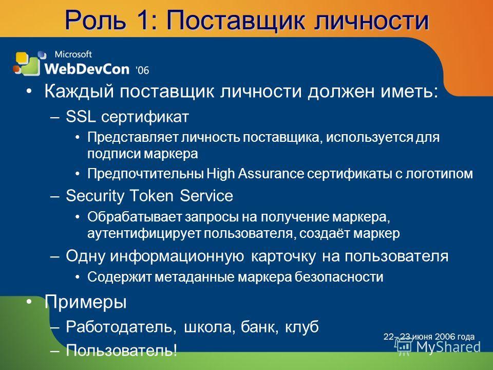 Роль 1: Поставщик личности Каждый поставщик личности должен иметь: –SSL сертификат Представляет личность поставщика, используется для подписи маркера Предпочтительны High Assurance сертификаты с логотипом –Security Token Service Обрабатывает запросы