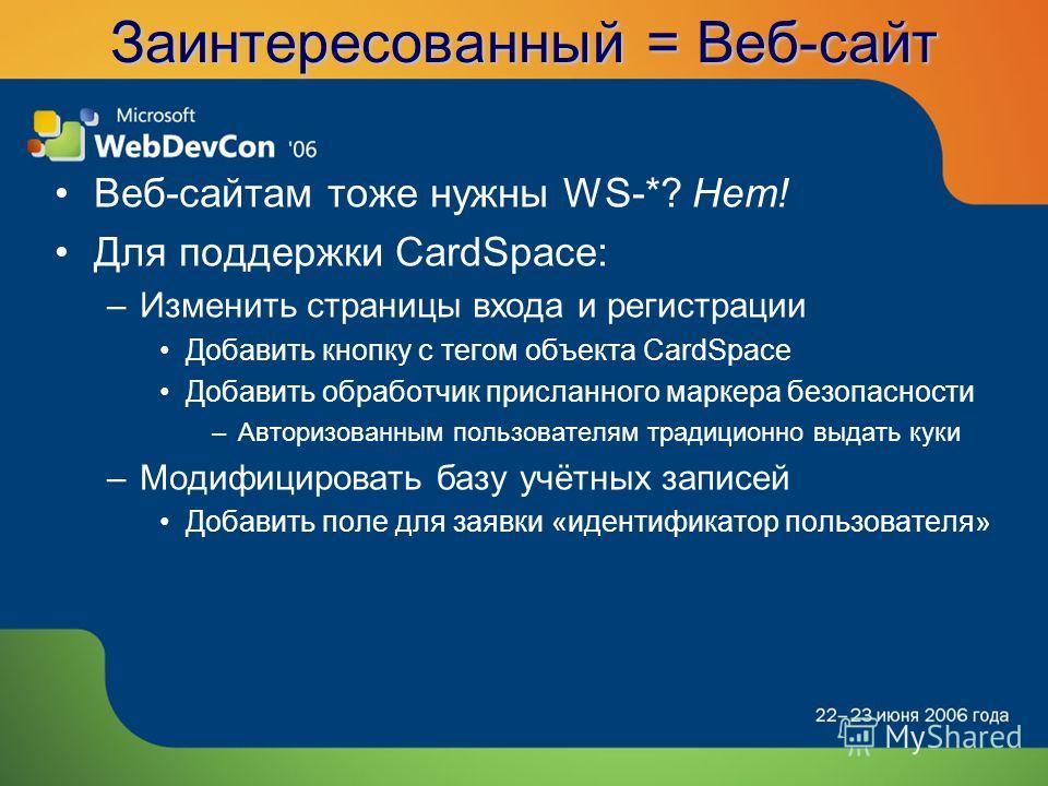 Заинтересованный = Веб-сайт Веб-сайтам тоже нужны WS-*? Нет! Для поддержки CardSpace: –Изменить страницы входа и регистрации Добавить кнопку с тегом объекта CardSpace Добавить обработчик присланного маркера безопасности –Авторизованным пользователям