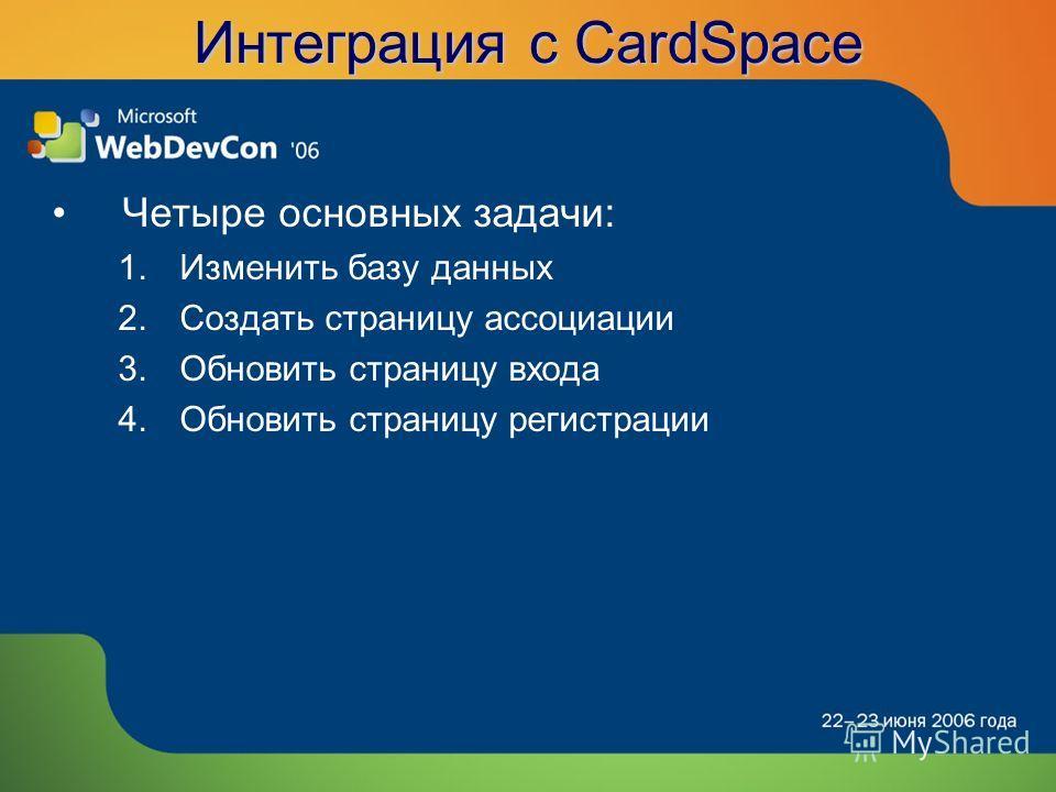 Интеграция с CardSpace Четыре основных задачи: 1.Изменить базу данных 2.Создать страницу ассоциации 3.Обновить страницу входа 4.Обновить страницу регистрации