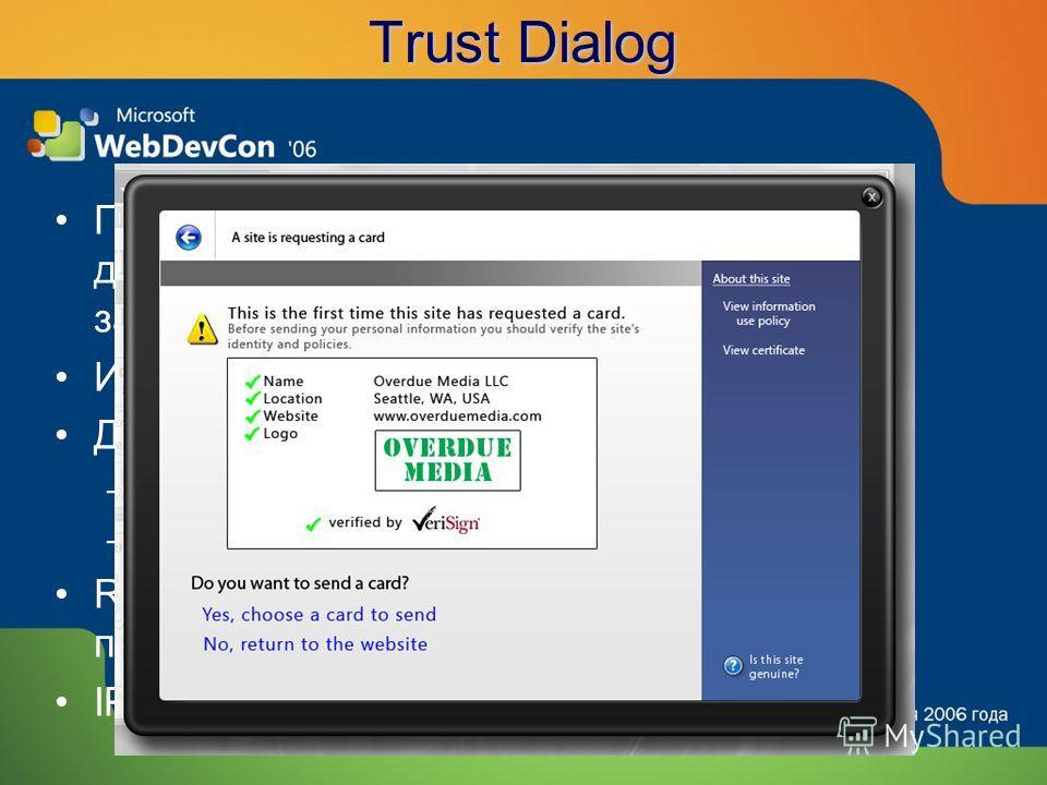 Trust Dialog Пользователь выносит явное решение о доверии поставщику личности и заинтересованной стороне Идентифицируют X.509 сертификатами Диалог доверия отображает: –Предмет и издателя сертификата –High Assurance информацию и логотип RP: показывает