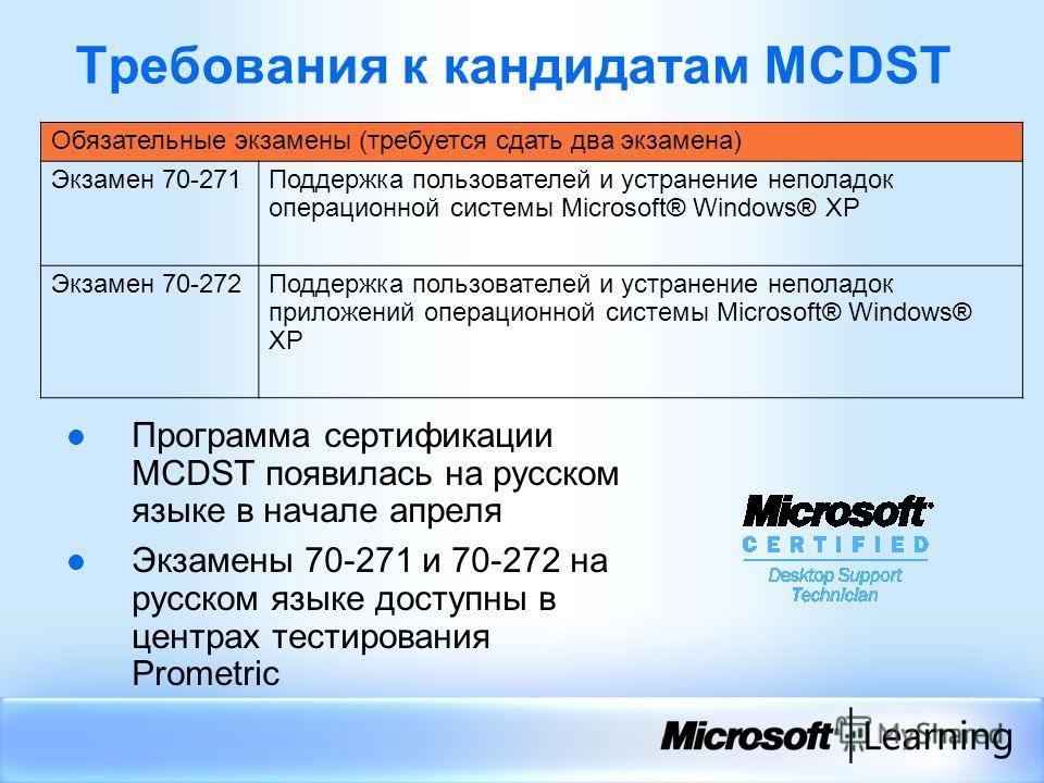 Требования к кандидатам MCDST Обязательные экзамены (требуется сдать два экзамена) Экзамен 70-271Поддержка пользователей и устранение неполадок операционной системы Microsoft® Windows® XP Экзамен 70-272Поддержка пользователей и устранение неполадок п