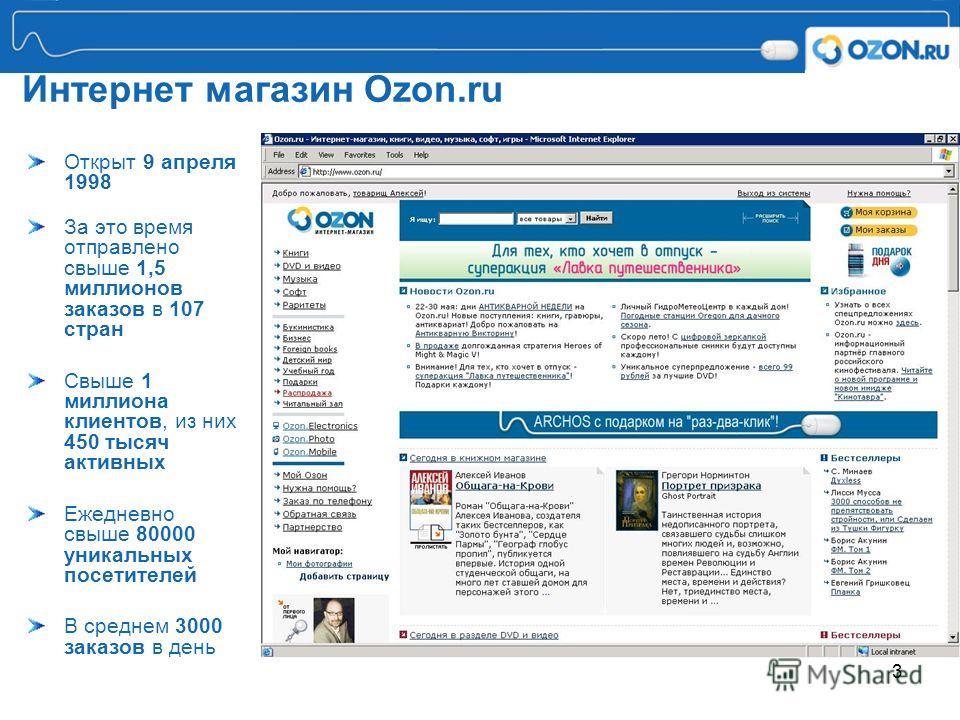 3 Интернет магазин Ozon.ru Открыт 9 апреля 1998 За это время отправлено свыше 1,5 миллионов заказов в 107 стран Свыше 1 миллиона клиентов, из них 450 тысяч активных Ежедневно свыше 80000 уникальных посетителей В среднем 3000 заказов в день