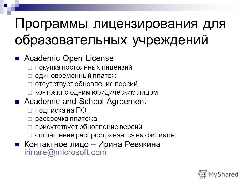 Программы лицензирования для образовательных учреждений Academic Open License покупка постоянных лицензий единовременный платеж отсутствует обновление версий контракт с одним юридическим лицом Academic and School Agreement подписка на ПО рассрочка пл