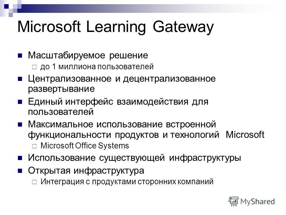 Microsoft Learning Gateway Масштабируемое решение до 1 миллиона пользователей Централизованное и децентрализованное развертывание Единый интерфейс взаимодействия для пользователей Максимальное использование встроенной функциональности продуктов и тех