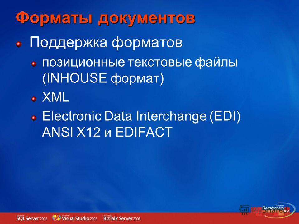 Форматы документов Поддержка форматов позиционные текстовые файлы (INHOUSE формат) XML Electronic Data Interchange (EDI) ANSI X12 и EDIFACT