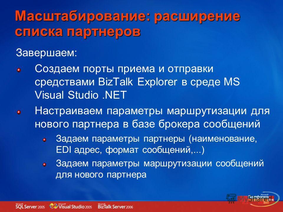 Масштабирование: расширение списка партнеров Завершаем: Создаем порты приема и отправки средствами BizTalk Explorer в среде MS Visual Studio.NET Настраиваем параметры маршрутизации для нового партнера в базе брокера сообщений Задаем параметры партнер