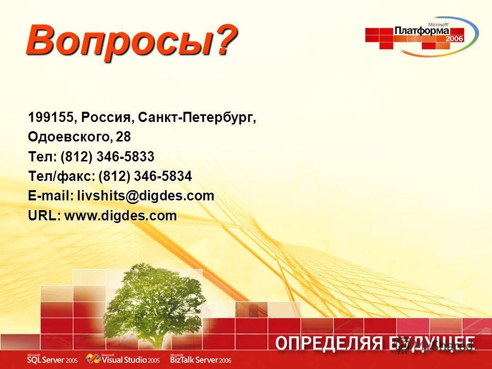 Вопросы? 199155, Россия, Санкт-Петербург, Одоевского, 28 Тел: (812) 346-5833 Тел/факс: (812) 346-5834 E-mail: livshits@digdes.com URL: www.digdes.com
