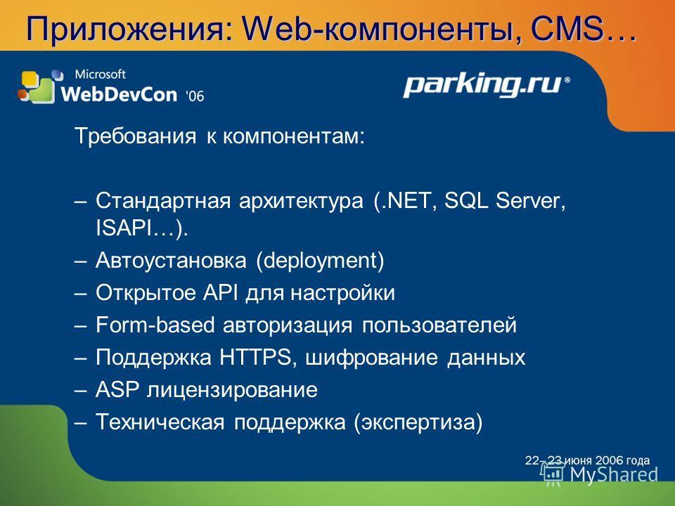 Приложения: Web-компоненты, CMS… Требования к компонентам: –Стандартная архитектура (.NET, SQL Server, ISAPI…). –Автоустановка (deployment) –Открытое API для настройки –Form-based авторизация пользователей –Поддержка HTTPS, шифрование данных –ASP лиц