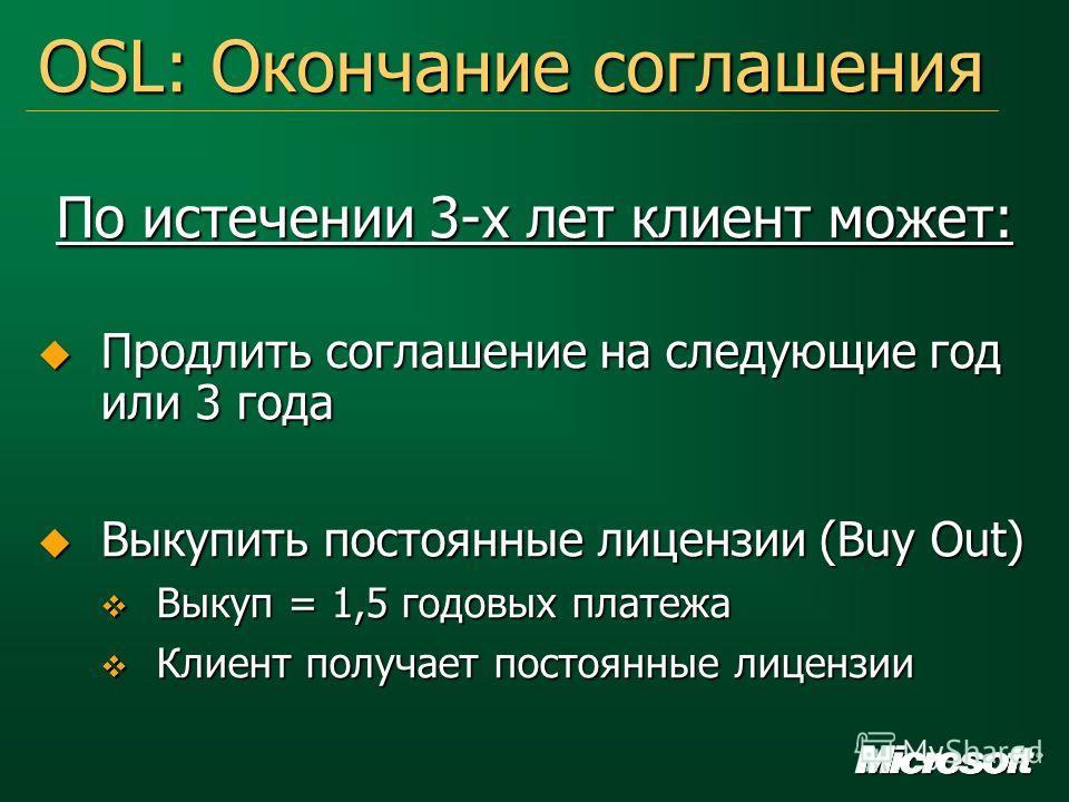 OSL: Окончание соглашения По истечении 3-х лет клиент может: Продлить соглашение на следующие год или 3 года Продлить соглашение на следующие год или 3 года Выкупить постоянные лицензии (Buy Out) Выкупить постоянные лицензии (Buy Out) Выкуп = 1,5 год