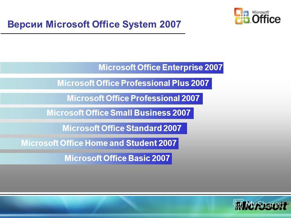 Версии Microsoft Office System 2007 Microsoft Office Basic 2007 Microsoft Office Home and Student 2007 Microsoft Office Standard 2007 Microsoft Office Small Business 2007 Microsoft Office Professional 2007 Microsoft Office Professional Plus 2007 Micr
