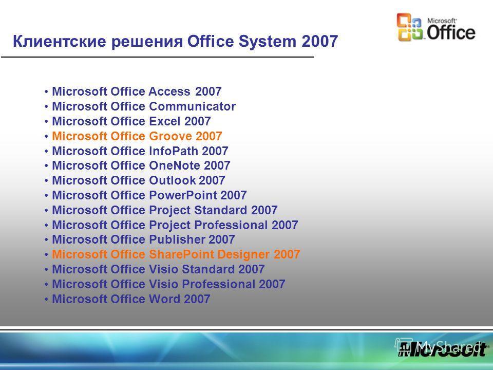 Клиентские решения Office System 2007 Microsoft Office Access 2007 Microsoft Office Communicator Microsoft Office Excel 2007 Microsoft Office Groove 2007 Microsoft Office InfoPath 2007 Microsoft Office OneNote 2007 Microsoft Office Outlook 2007 Micro