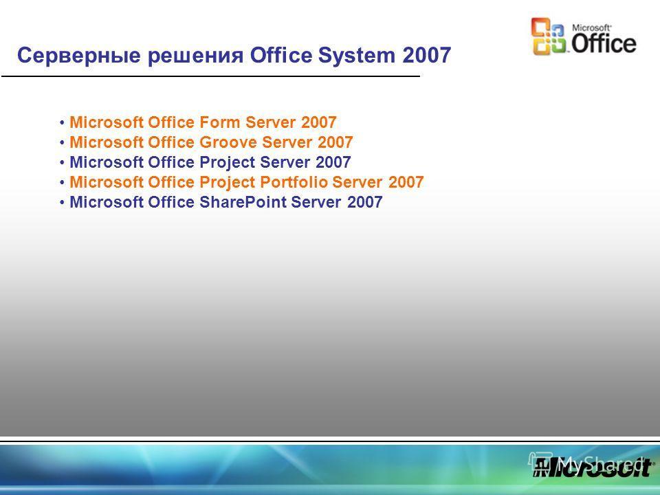 Серверные решения Office System 2007 Microsoft Office Form Server 2007 Microsoft Office Groove Server 2007 Microsoft Office Project Server 2007 Microsoft Office Project Portfolio Server 2007 Microsoft Office SharePoint Server 2007