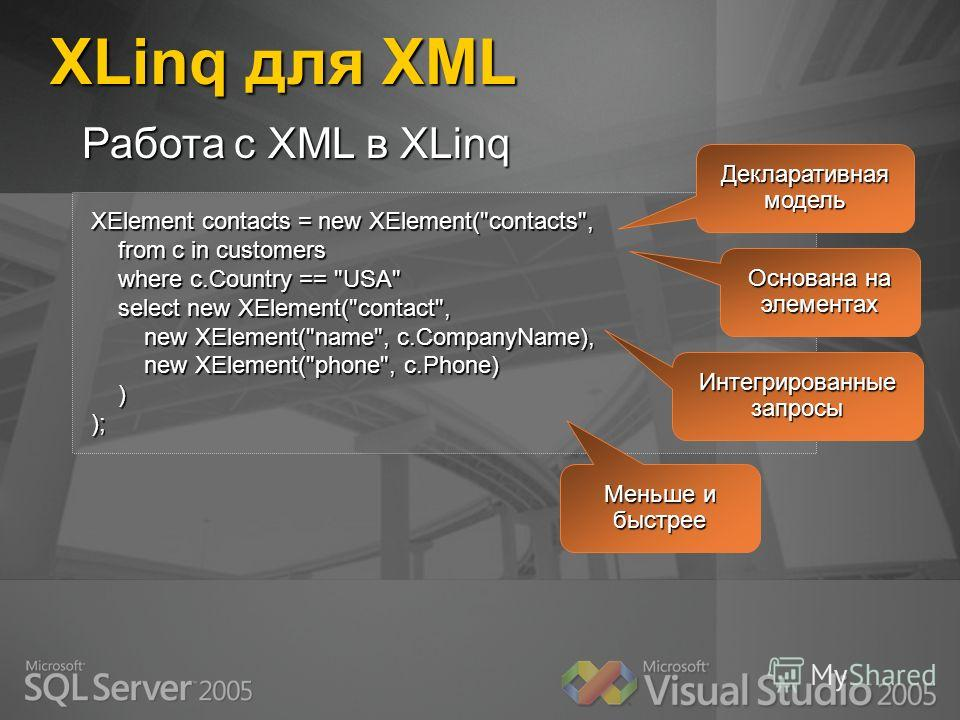 XLinq для XML XElement contacts = new XElement(