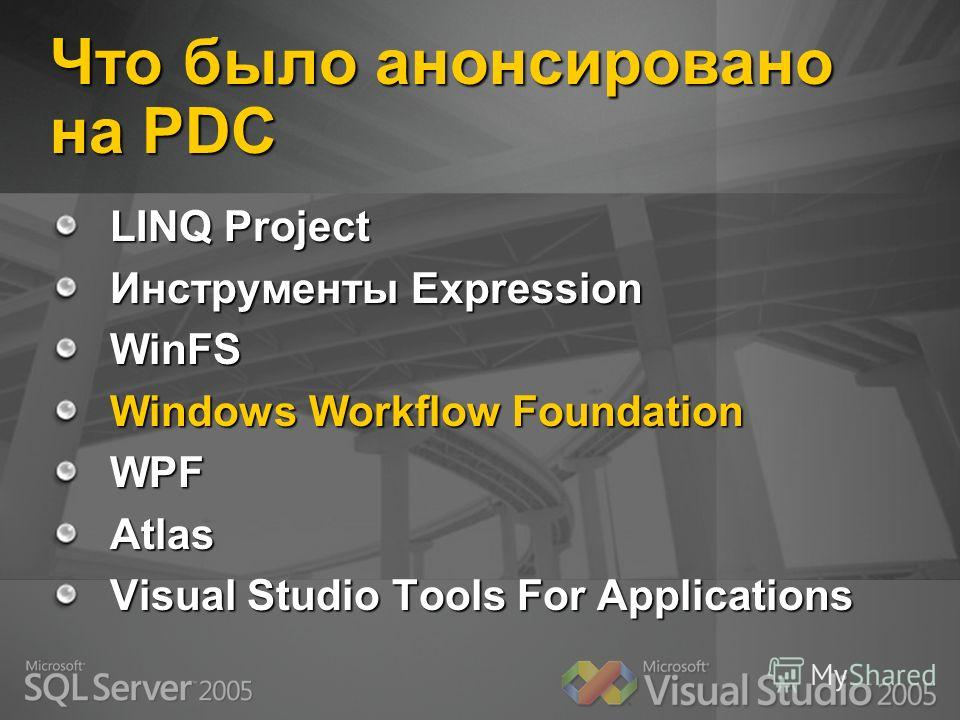 Что было анонсировано на PDC LINQ Project Инструменты Expression WinFS Windows Workflow Foundation WPFAtlas Visual Studio Tools For Applications