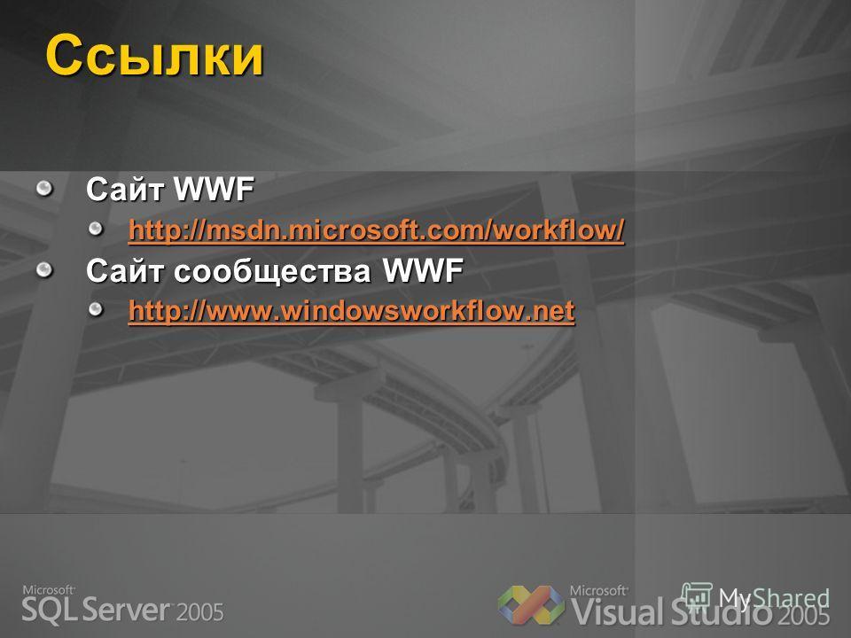 Ссылки Сайт WWF http://msdn.microsoft.com/workflow/ Сайт сообщества WWF http://www.windowsworkflow.net