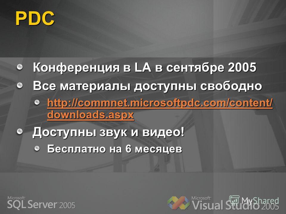 PDC Конференция в LA в сентябре 2005 Все материалы доступны свободно http://commnet.microsoftpdc.com/content/ downloads.aspx http://commnet.microsoftpdc.com/content/ downloads.aspx Доступны звук и видео! Бесплатно на 6 месяцев