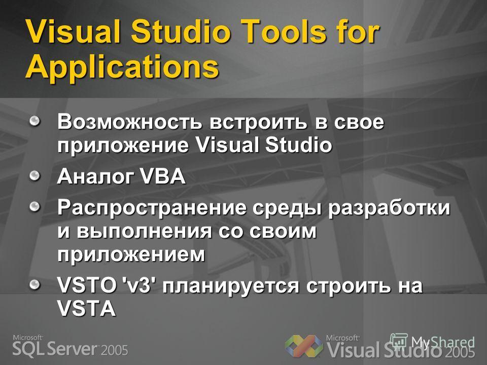 Visual Studio Tools for Applications Возможность встроить в свое приложение Visual Studio Аналог VBA Распространение среды разработки и выполнения со своим приложением VSTO 'v3' планируется строить на VSTA