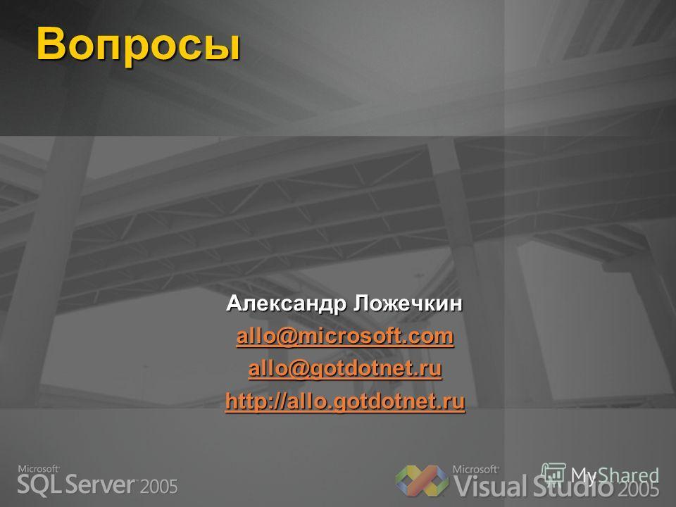 Вопросы Александр Ложечкин allo@microsoft.com allo@gotdotnet.ru http://allo.gotdotnet.ru