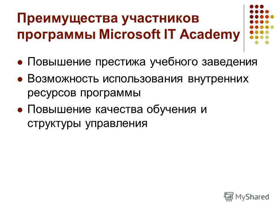 Преимущества участников программы Microsoft IT Academy Повышение престижа учебного заведения Возможность использования внутренних ресурсов программы Повышение качества обучения и структуры управления