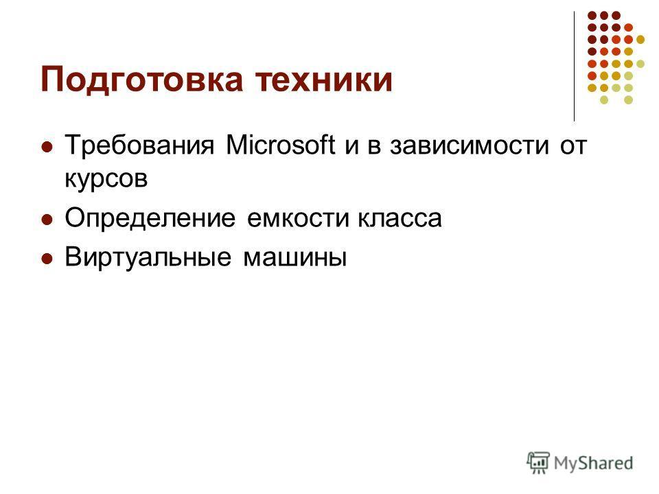 Подготовка техники Требования Microsoft и в зависимости от курсов Определение емкости класса Виртуальные машины