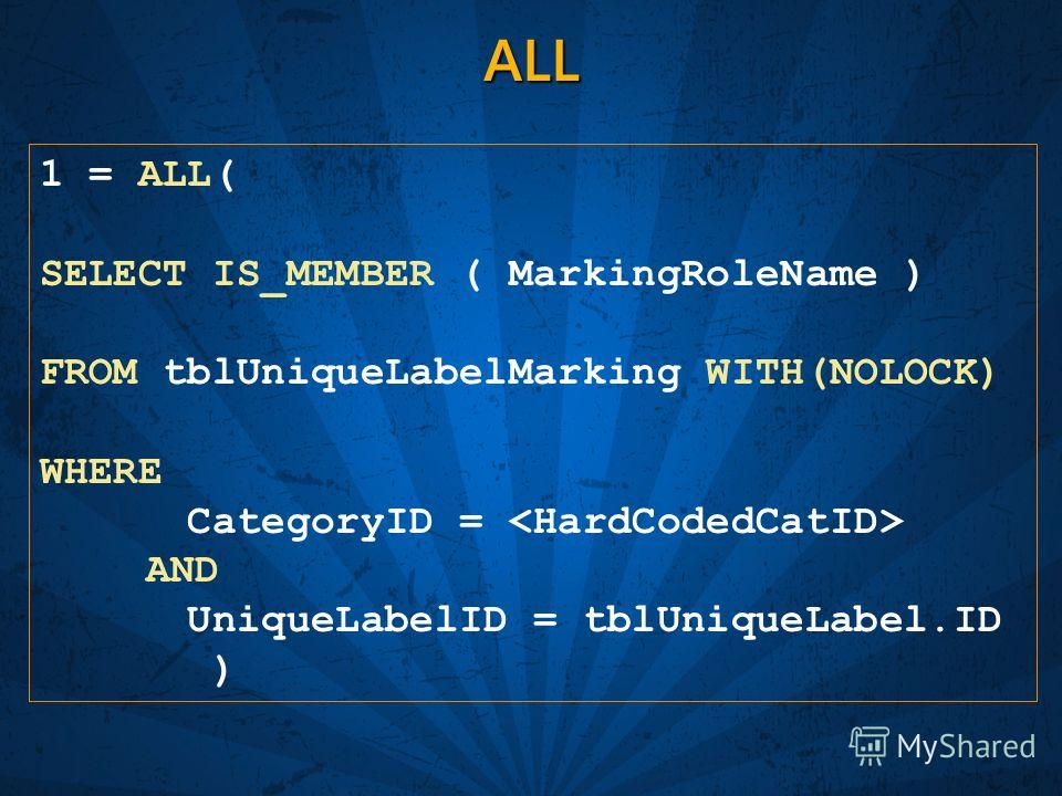 ALL 1 = ALL( SELECT IS_MEMBER ( MarkingRoleName ) FROM tblUniqueLabelMarking WITH(NOLOCK) WHERE CategoryID =  AND UniqueLabelID = tblUniqueLabel.ID )