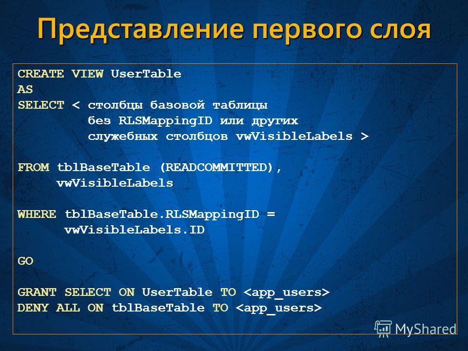 Представление первого слоя CREATE VIEW UserTable AS SELECT < столбцы базовой таблицы без RLSMappingID или других служебных столбцов vwVisibleLabels > FROM tblBaseTable (READCOMMITTED), vwVisibleLabels WHERE tblBaseTable.RLSMappingID = vwVisibleLabels