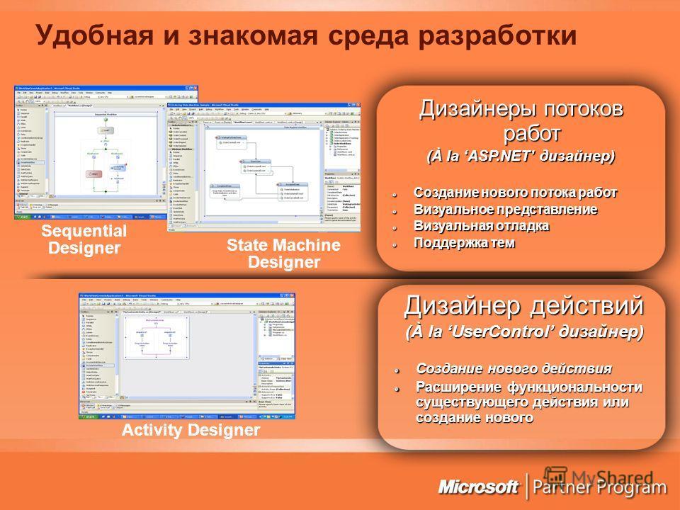 Удобная и знакомая среда разработки Дизайнеры потоков работ (À la ASP.NET дизайнер) Создание нового потока работ Визуальное представление Визуальная отладка Поддержка тем Дизайнер действий (À la UserControl дизайнер) Создание нового действия Расширен
