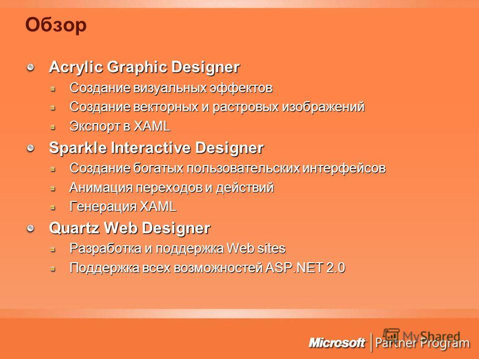 Обзор Acrylic Graphic Designer Создание визуальных эффектов Создание векторных и растровых изображений Экспорт в XAML Sparkle Interactive Designer Создание богатых пользовательских интерфейсов Анимация переходов и действий Генерация XAML Quartz Web D