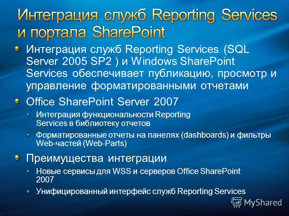 Интеграция служб Reporting Services (SQL Server 2005 SP2 ) и Windows SharePoint Services обеспечивает публикацию, просмотр и управление форматированными отчетами Office SharePoint Server 2007 Интеграция функциональности Reporting Services в библиотек