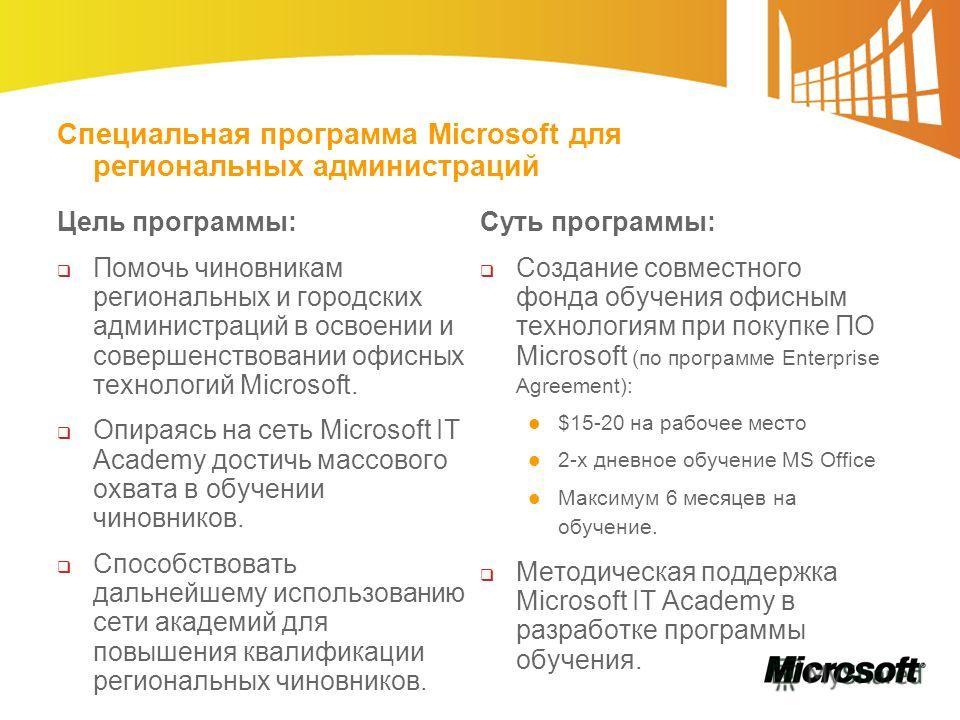 Специальная программа Microsoft для региональных администраций Цель программы: Помочь чиновникам региональных и городских администраций в освоении и совершенствовании офисных технологий Microsoft. Опираясь на сеть Microsoft IT Academy достичь массово