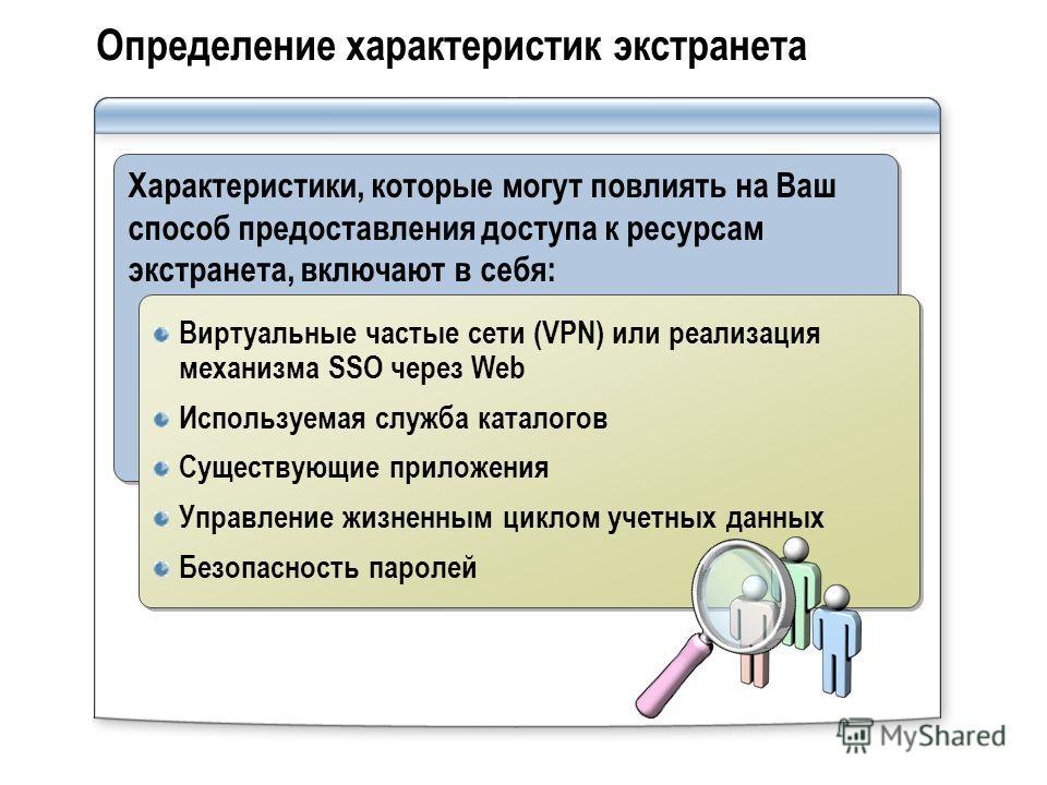 Определение характеристик экстранета Характеристики, которые могут повлиять на Ваш способ предоставления доступа к ресурсам экстранета, включают в себя: Виртуальные частые сети (VPN) или реализация механизма SSO через Web Используемая служба каталого