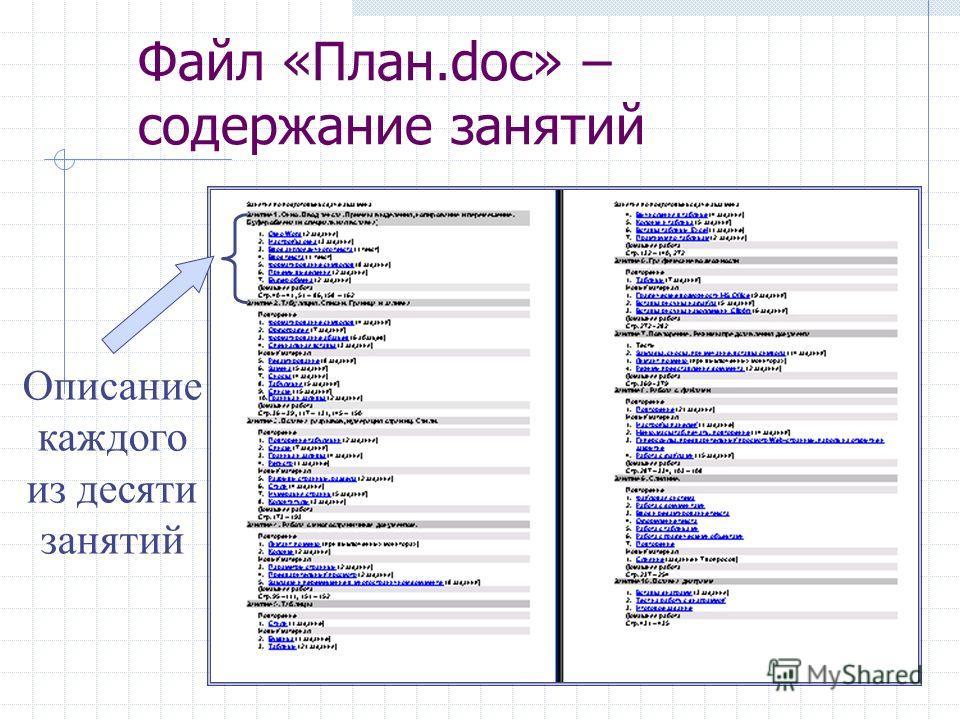 Файл «План.doc» – содержание занятий Описание каждого из десяти занятий