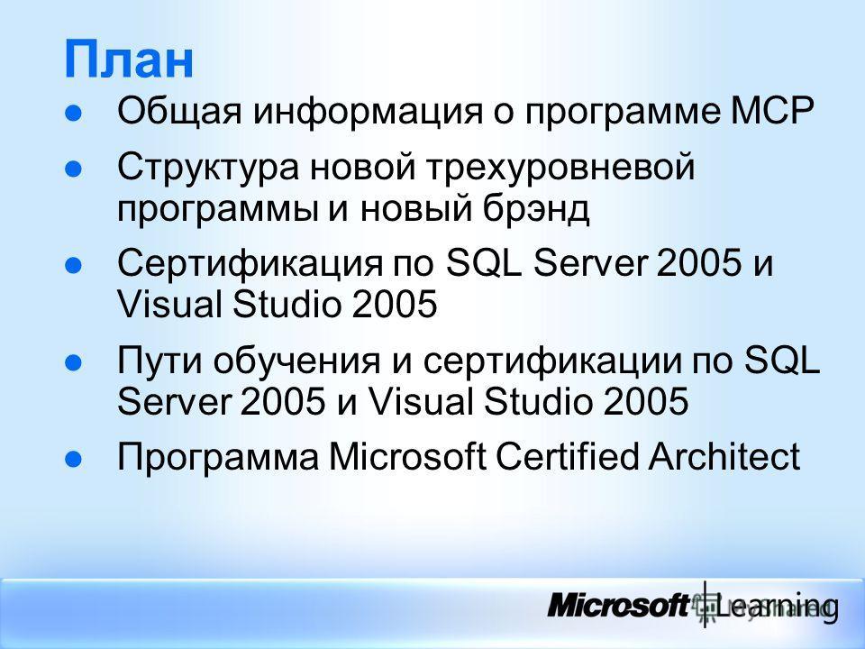 План Общая информация о программе МСР Структура новой трехуровневой программы и новый брэнд Сертификация по SQL Server 2005 и Visual Studio 2005 Пути обучения и сертификации по SQL Server 2005 и Visual Studio 2005 Программа Microsoft Certified Archit