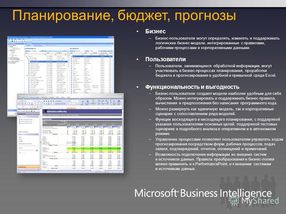 Бизнес –Бизнес-пользователи могут определять, изменять и поддерживать логические бизнес-модели, интегрированные с правилами, рабочими процессами и корпоративными данными. Пользователи –Пользователи, занимающиеся обработкой информации, могут участвова