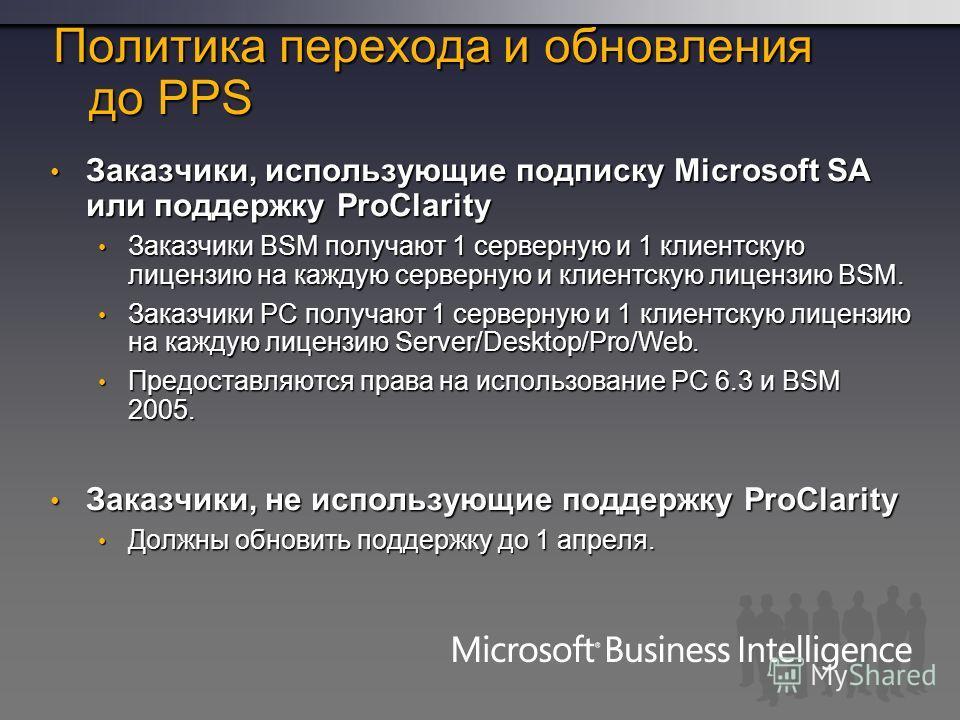 Политика перехода и обновления до PPS Заказчики, использующие подписку Microsoft SA или поддержку ProClarity Заказчики, использующие подписку Microsoft SA или поддержку ProClarity Заказчики BSM получают 1 серверную и 1 клиентскую лицензию на каждую с