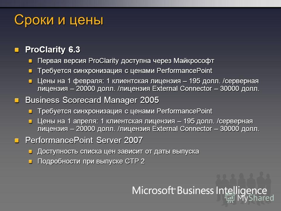 Сроки и цены ProClarity 6.3 Первая версия ProClarity доступна через Майкрософт Требуется синхронизация с ценами PerformancePoint Цены на 1 февраля: 1 клиентская лицензия – 195 долл. /серверная лицензия – 20000 долл. /лицензия External Connector – 300