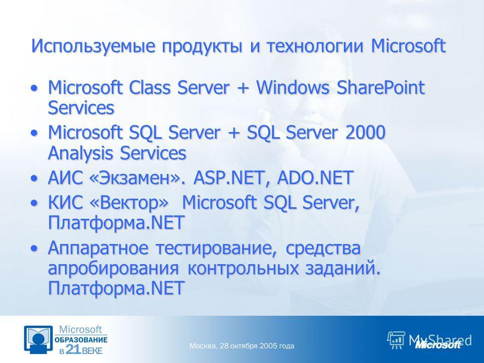 Используемые продукты и технологии Microsoft Microsoft Class Server + Windows SharePoint ServicesMicrosoft Class Server + Windows SharePoint Services Microsoft SQL Server + SQL Server 2000 Analysis ServicesMicrosoft SQL Server + SQL Server 2000 Analy