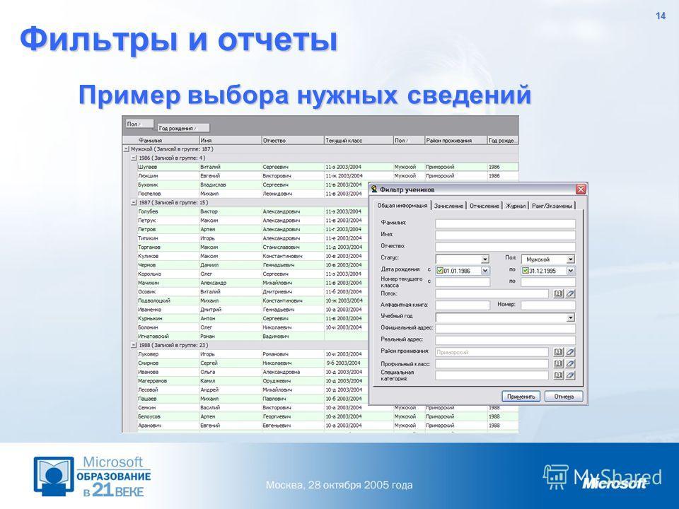 14 Фильтры и отчеты Пример выбора нужных сведений