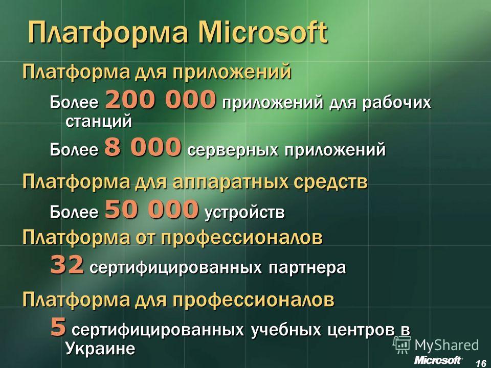 16 Платформа Microsoft Платформа для приложений Более 200 000 приложений для рабочих станций Более 8 000 серверных приложений Платформа для аппаратных средств Более 50 000 устройств Платформа от профессионалов 32 сертифицированных партнера Платформа