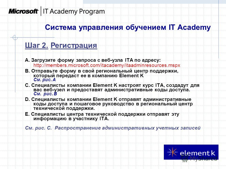 Система управления обучением IT Academy A. Загрузите форму запроса с веб-узла ITA по адресу: http://members.microsoft.com/itacademy/itaadminresources.mspx B. Отправьте форму в свой региональный центр поддержки, который передаст ее в компанию Element