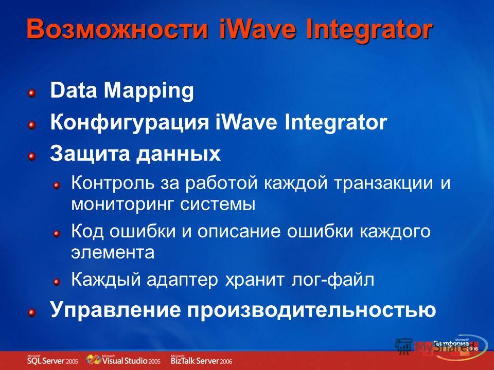 Возможности iWave Integrator Data Mapping Конфигурация iWave Integrator Защита данных Контроль за работой каждой транзакции и мониторинг системы Код ошибки и описание ошибки каждого элемента Каждый адаптер хранит лог-файл Управление производительност