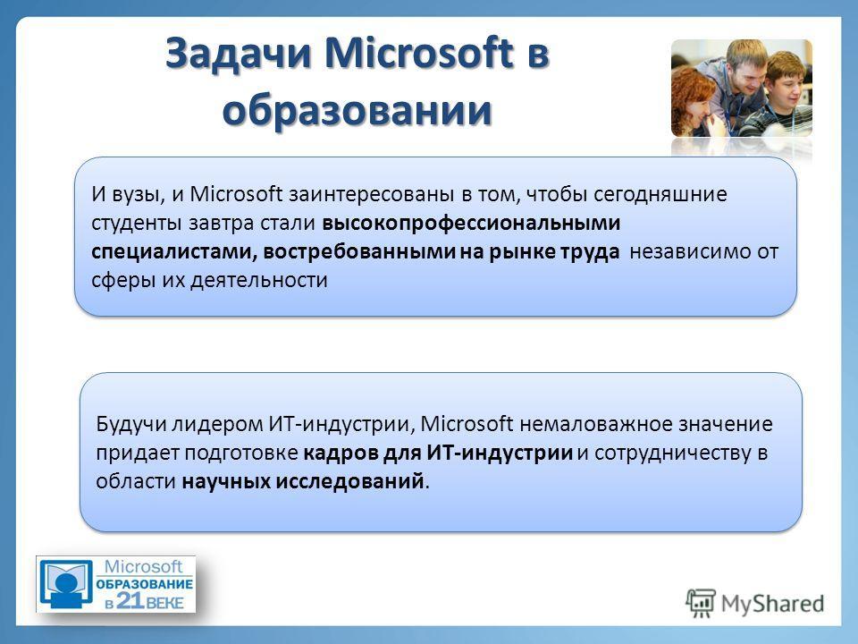 Задачи Microsoft в образовании И вузы, и Microsoft заинтересованы в том, чтобы сегодняшние студенты завтра стали высокопрофессиональными специалистами, востребованными на рынке труда независимо от сферы их деятельности Будучи лидером ИТ-индустрии, Mi