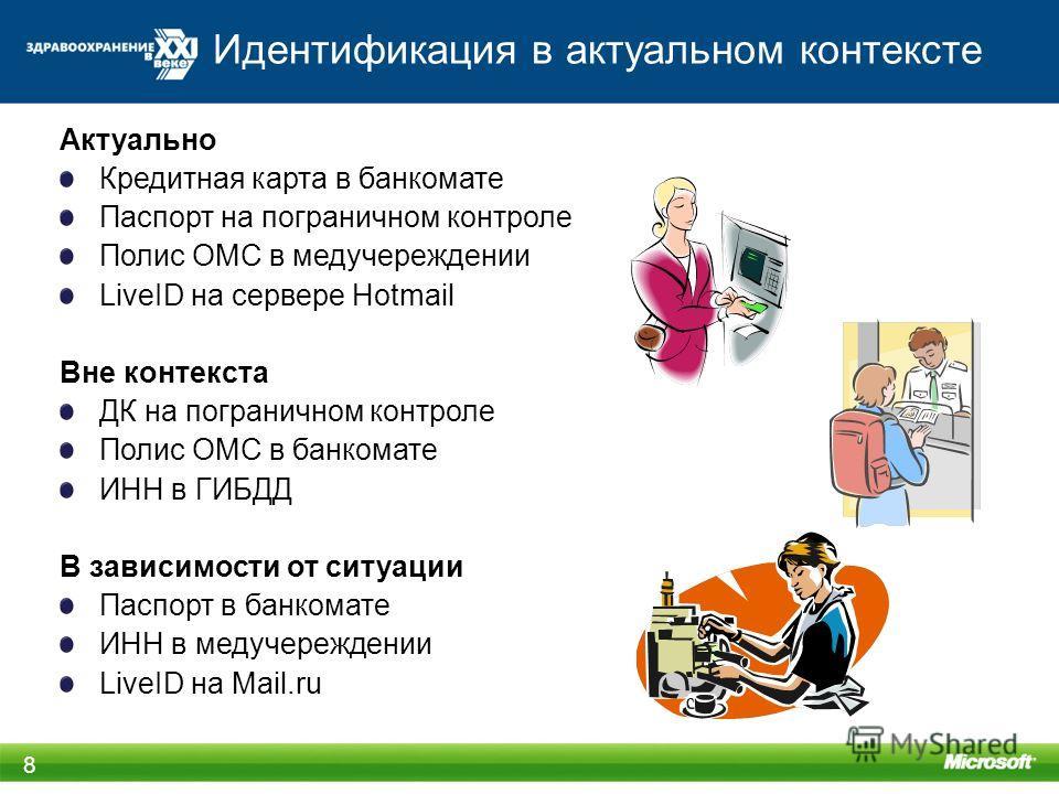 Идентификация в актуальном контексте 8 Актуально Кредитная карта в банкомате Паспорт на пограничном контроле Полис ОМС в медучереждении LiveID на сервере Hotmail Вне контекста ДК на пограничном контроле Полис ОМС в банкомате ИНН в ГИБДД В зависимости