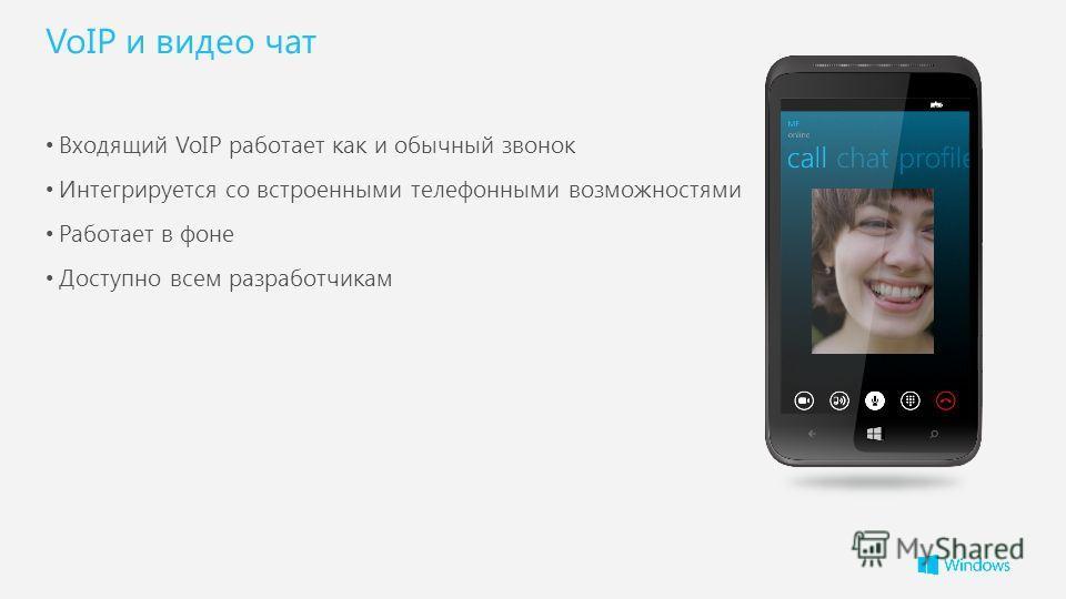 VoIP и видео чат Входящий VoIP работает как и обычный звонок Интегрируется со встроенными телефонными возможностями Работает в фоне Доступно всем разработчикам