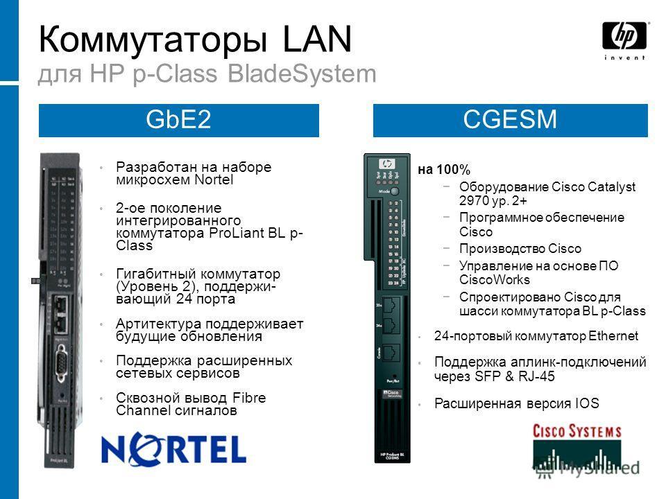 Коммутаторы LAN для HP p-Class BladeSystem на 100% Оборудование Cisco Catalyst 2970 ур. 2+ Программное обеспечение Cisco Производство Cisco Управление на основе ПО CiscoWorks Спроектировано Cisco для шасси коммутатора BL p-Class 24-портовый коммутато