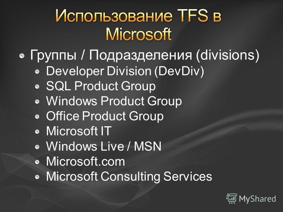 Группы / Подразделения (divisions) Developer Division (DevDiv) SQL Product Group Windows Product Group Office Product Group Microsoft IT Windows Live / MSN Microsoft.com Microsoft Consulting Services