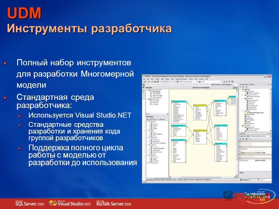 Полный набор инструментов для разработки Многомерной модели Стандартная среда разработчика: Используется Visual Studio.NET Стандартные средства разработки и хранения кода группой разработчиков Поддержка полного цикла работы с моделью от разработки до