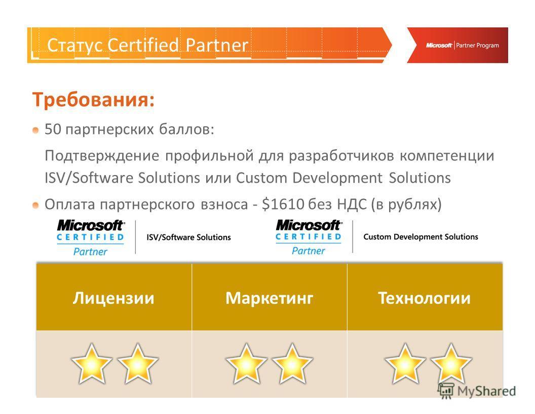 Certified Partner Требования: 50 партнерских баллов: Подтверждение профильной для разработчиков компетенции ISV/Software Solutions или Custom Development Solutions Оплата партнерского взноса - $1610 без НДС (в рублях) Статус Certified Partner